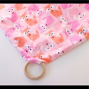 Other - Minky Fox baby blanket with wooden teether
